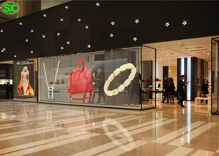 Full color TL12.5 MM 86% Transparent LED Screen display Airport / commercial mall use